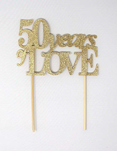Queen54ferna 50 Years of Love Cake Topper, 1PC, 50-jarig jubileum, 50-jarig jubileum (goud)