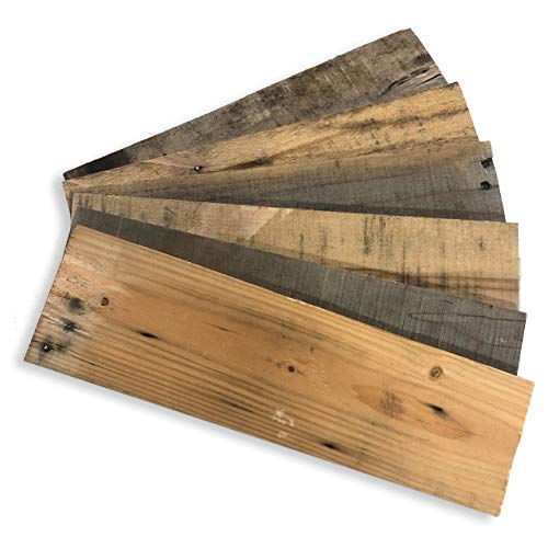 VintBo, Barnwood Decor, 100% Authentic Ohio Barnwood Craft Wood for DIY Projects, Reclaimed Weathered Wood, Rustic Weathered Wood Planks for DIY Crafts, Projects and Decor (18 Inch Planks (6 Pack))