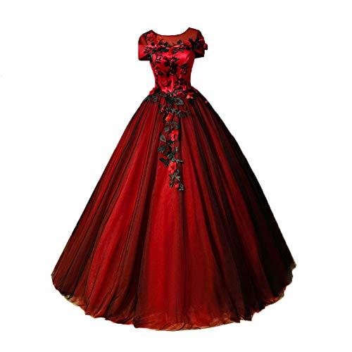 QAQBDBCKL Maskerade schwarz Schleier rot ballkleid Gericht mittelalterliches Kleid Renaissance Kleid...