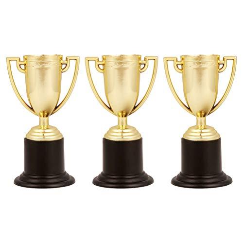 Trofeo de plástico de oro de 3 piezas, premio deportivo para estudiantes, recompensa por trofeo para competiciones deportivas (oro)