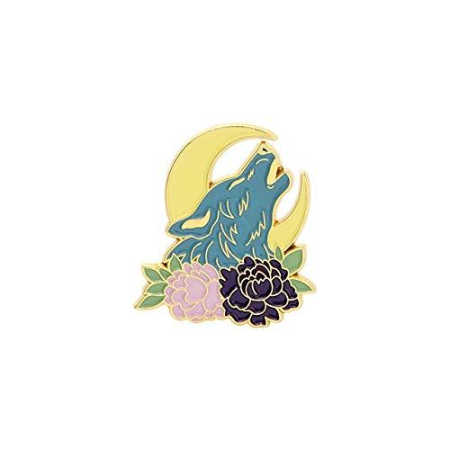 Pin de esmalte de animales estrellados personalizado Fox Bat Wolf Snake Broches bolsa solapa Pin negro blanco sol luna día noche insignia joyería regalo