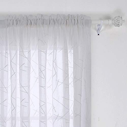 Deconovo Tende in Voile con Asta, Trasparente, con Ricamo, 160 x 132 cm, Bianco, Set da 2 Pezzi, Tessuto, 160x132