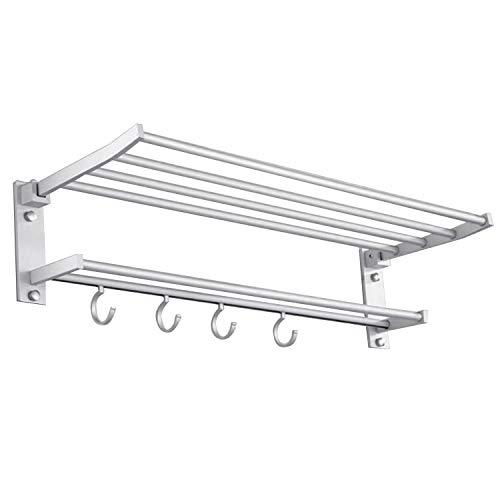 40 cm plegable montado en la pared espacio de aluminio toalla almacenamiento de almacenamiento estante estante de soporte de rack con 4 unids ganchos para baño de hotel en casa