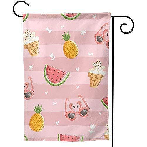 CHANGSHABF Tuin Banners, Tuin Vlag 30X45Cm Flamingo Bril Watermeloen Koud Drank Zomer Aangepaste Tweezijdig Voor Thuis Tuin Decoratie