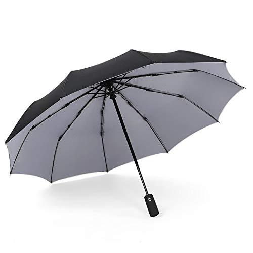 FEANG Paraguas de golf a prueba de viento automático plegable paraguas de lujo para coche de negocios grandes, sombrilla doble 10 huesos paraguas plegable (color: gris, tamaño: grande)