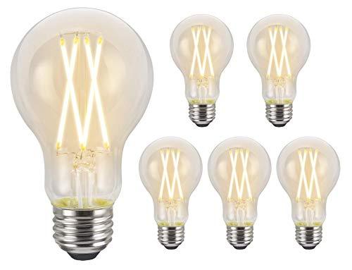 LIT-PaTH A19 - foco LED Edison, 9 W (equivalente a 60 W) 800 lúmenes, regulable, 2700 K, base E26, 6 unidades
