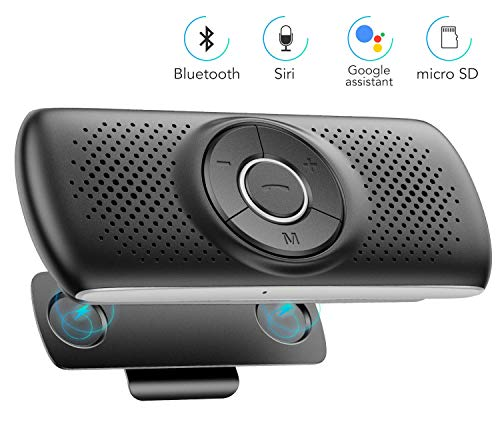 Bluetooth Car Speaker for Cell Phone, AGPTEK in Car Hands Free Wireless Car Kit with Visor Clip,3W Loud Speakerphone, Support Siri Google Assistant,Built-in TF Card Slot, Microphone