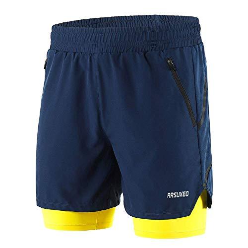 HRLYL Pantalones Cortos para Correr 2 en 1 para Hombres Secado rápido Respirable Entrenamiento Activo Ejercicio Jogging Marathon Shorts Ciclismo (Armada, MX L (Label Size 2XL))
