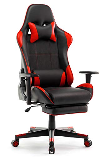 IntimaTe WM Heart Silla Gaming, Silla Gamer con Reposapiés Silla Escritorio Giratoria Altura Ajustable Respaldo Inclinable hasta 135 ° PU (Roja)