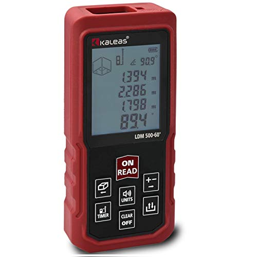 Kaleas Profi Laser Entfernungsmesser LDM 500-60+ für Entfernung bis 60m [Genauigkeit ±1.5mm] Neigungsmesser outdoor indoor (34057)