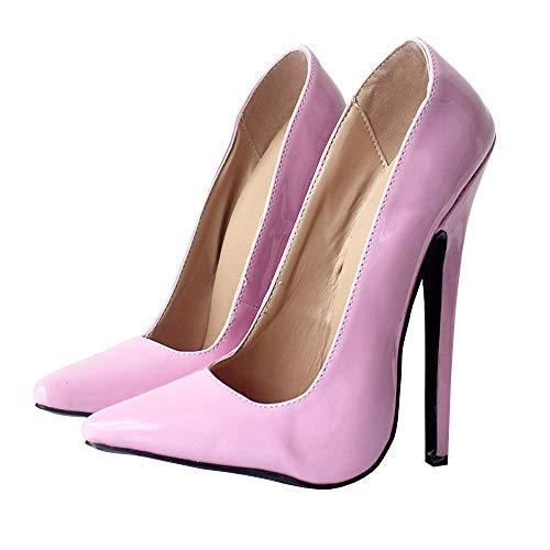 TIKENBST High Heels Fetisch Absätze Unisex 18cm Schuhe High Heels Extrem Spitze Zehen Sexy Dünne Absätze Hochzeitsfeier Sommer,Pink-40