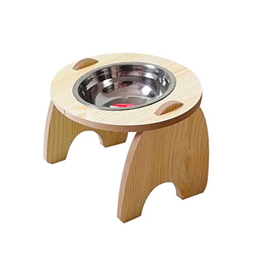 Redsa Erhöhter Futternapf für Katzen und kleine Hunde, Futternäpfe aus Edelstahl, Doppelwanne, herausnehmbare Futternapf, Futterwasserbehälter, Tisch, Essset mit erhöhtem Ständer