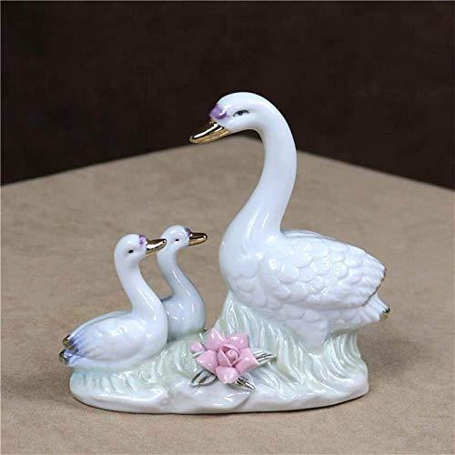 LHQ-HQ Estatuilla de la estatuilla de la estatuilla, cisne de porcelana madre estatua decoración de cerámica cisne cisne estatua decoración artesanías artesanías caseras regalo de cumpleaños