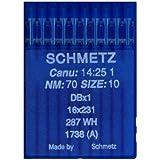 La Canilla  - 10 Agujas para Máquina de Coser Industrial Schmetz DBx1 1738(A) 16x231 Grosor 70/10 Pistón Redondo