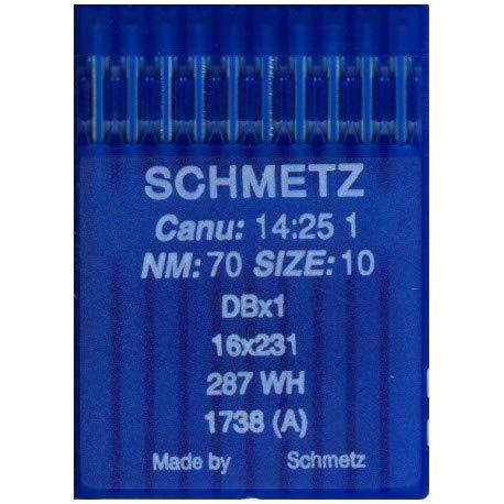 La Canilla ® - 10 Agujas para Máquina de Coser Industrial Schmetz DBx1 1738(A) 16x231 Grosor 70/10 Pistón Redondo