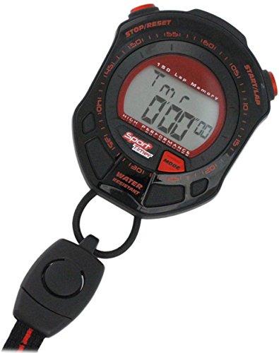[クレファー]CREPHA ストップウォッチ ラップ メモリー スプリット 計測機能 付き ブラック レッド TS-S002-BK