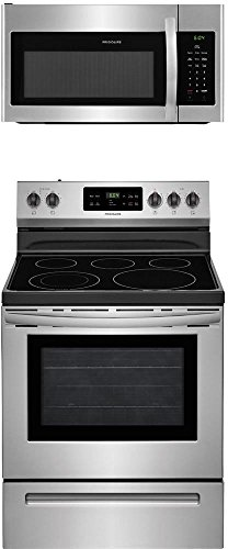 """Frigidaire 2-Piece Stainless Steel Kitchen Package with FFEF3054TS 30"""" Freestanding Electric Range and FFMV1645TS 30"""" Over-the-Range Microwave"""