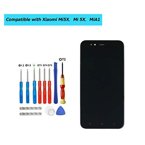 Upplus - Pantalla LCD de Repuesto Compatible con Xiaomi Mi5X, Mi 5X, MiA1, Mi A1 de 5,5 Pulgadas, Pantalla LCD táctil con Marco y Juego de Herramientas (Negro)