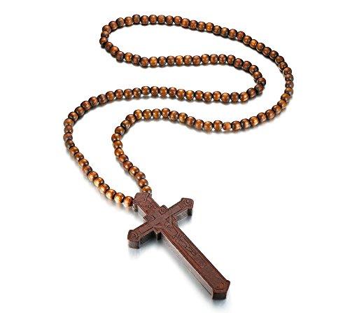 VNOX Holz Große Lange Kruzifix Rosenkranz Glatte Perlen Katholischen Jesus Kreuz Anhänger Halskette für Männer Frauen Braun