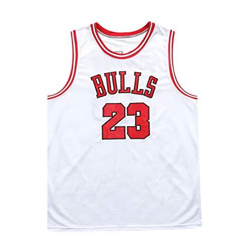 QQJL # 23 Bull Jordan Basketballuniform, Basketballuniformanzug, atmungsaktives Netz, Hip-Hop-Lineup, Sportbekleidungsweste (L-5XL),Weiß,XL
