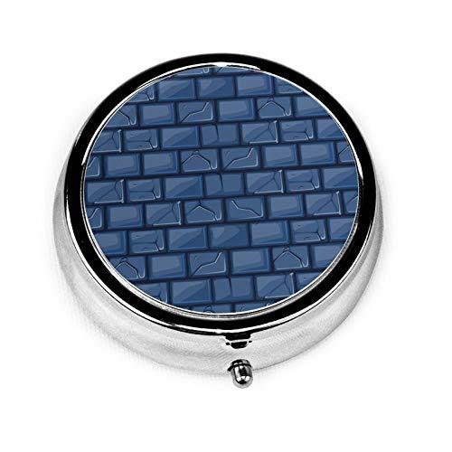 Caja de medicina redonda portátil, mini pastillero de metal, dispensador de pastillas, bolso de mano, regalo de viaje, textura de pared de piedra azul de dibujos animados