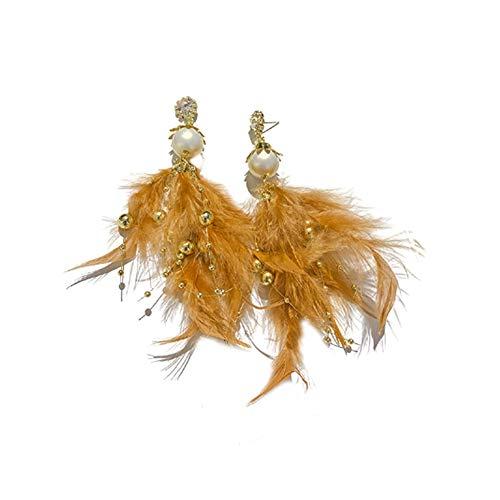 EMFGJ Pendientes colgantes de borla de plumas para mujer, pendientes de perlas de imitación bohemios, pendientes de moda, joyería para mujeres y niñas, aguja plateada marrón