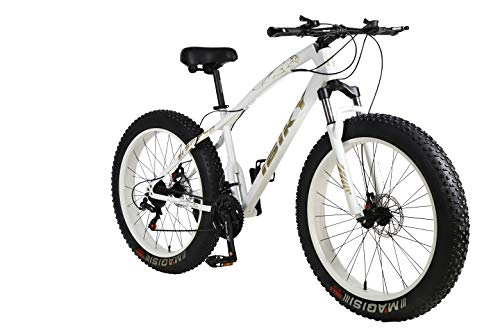 26 Inch Wheel 21 Speed 4.0 Fat Tire Bike Snow and Grass Sand Bicycle Mountain Bike,with Powerful Disc Brakes Fatbike (White)