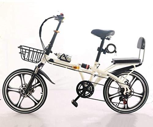 20 Pulgadas Bicicleta Bici Ciudad Plegables Adulto Hombre Mujer, Bicicleta de Montaña Btt MTB Ligero Folding Mountain City Bike Doble Suspension Bicicleta Urbana Portátil, H103ZJ