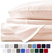 Mayfair Linen 100% Egyptian Cotton Sheets, Ivory Queen Sheets Set, 800 Thread Count Long Staple Cotton, Sateen Weave for Soft and Silky Feel, Fits Mattress Upto 18'' DEEP Pocket