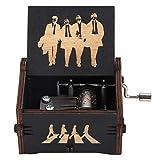 Duokon Caja de música de Madera, manivela de Mano, Color Negro, Caja de música Antigua Tallada, Regalo de cumpleaños, decoración del hogar para niños, Amigos, The Beatles