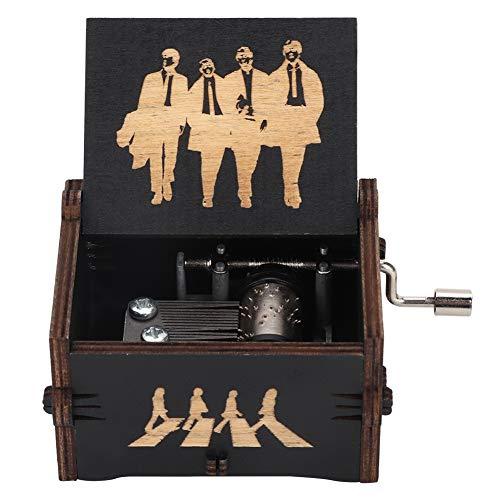 Holz-Spieluhr, Handkurbel, schwarz, mechanisch, antikes Design, geschnitzt, Spieluhr, Geburtstagsgeschenk, Heimdekoration für Kinder, Freunde (The Beatles)