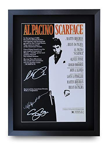 HWC Trading Scarface A3 Gerahmte Signiert Gedruckt Autogramme Bild Druck-Fotoanzeige Geschenk Für Al Pacino Steven Bauer Michelle Pfeiffer Filmfans
