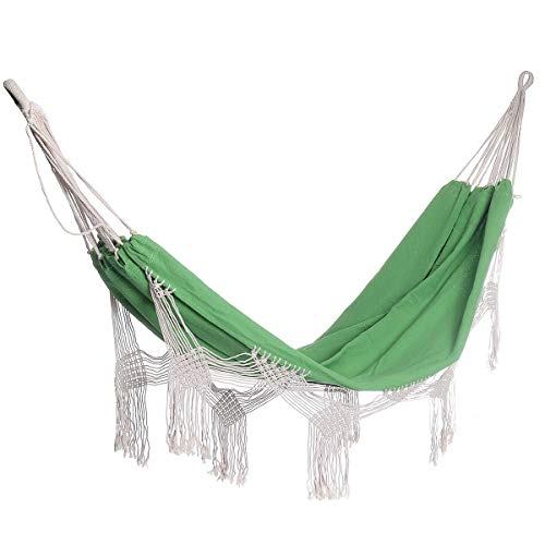 OUY TCamping Hammock NetDouble Hammock 2 Person Extra Large Canvas Cotton Hammock For Patio Garden Backyard Lounging Outdoor And IndoorOutdoor Travel Hammocks (Size:Onesize; Color:Green)