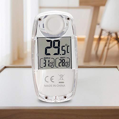 HeNai Digital Panel Thermometer | Thermometer Hygrometer | Genauer Innentemperatur-Feuchtigkeitssensor, Saugnapf-Fensterthermometer mit großem LCD-Display, solarbetrieben