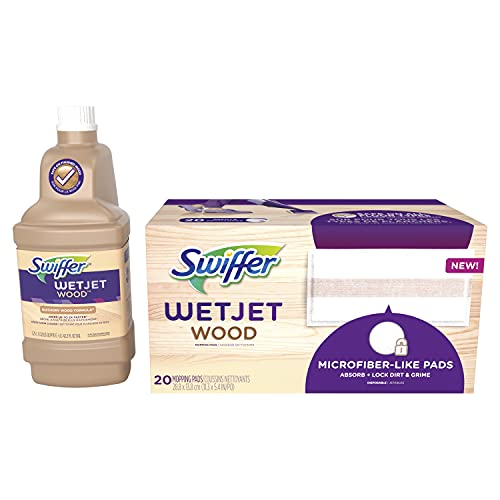 Swiffer WetJet Mops for Floor Cleaning, Hardwood Floor Cleaner, Mopping Refill Bundle, Includes: 20 Pads, 1 Cleaning Solution