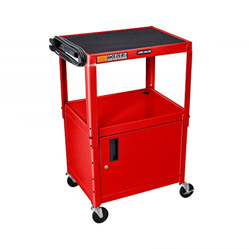 LUXOR AVJ42C-RD Steel Adjustable AV Cart with Cabinet, Red