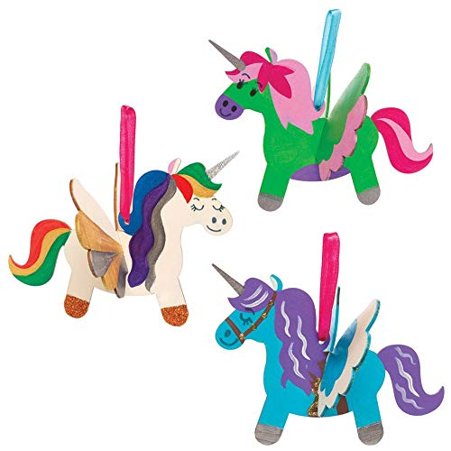 Baker Ross AT312 Wooden 3D Unicorn Kit, Arts and Crafts for Kids (Pack of 6)