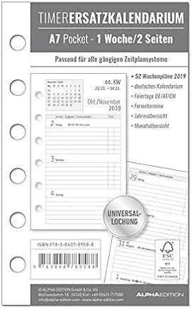 Timer Ersatzkalendarium A7 Pocket 2019: 1 Woche - 2 Seiten