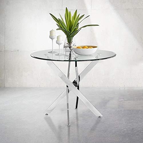 GOLDFAN Vetro Temperato Rotonda Tavolo da Cucina Circolare Moderno Tavolo da Pranzo con Gambe Cromate per Sala da Pranzo(Solo Tavolo)