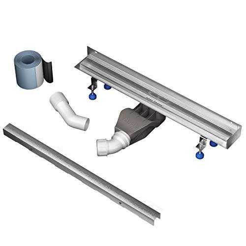 Aquabad® Edelstahl Duschrinne mit Wandaufkantung -SDS Wall Pro Pro | Länge 80 cm | Komplett Set inkl. Abdeckung