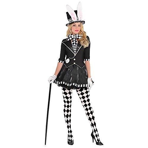 Verrückter Hutmacher Damen-Kostüm Dark Mad Hatter aus Alice im Wunderland Hut mit Hasenohren, Größe:M