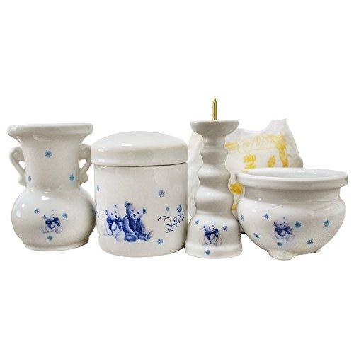 ミニ骨壷 & 仏具 3点セット ペット仏具 ベア くま柄 骨壷 花器 香炉 ろうそく立て ブルー 香炉灰つき