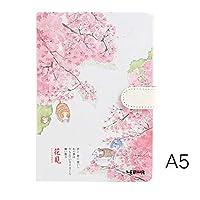 創造的なトレンドカラーページA5ノートブック美しい桜日記ハードカバーハンドブック学校用品