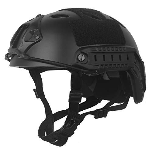 LOOGU Airsoft Helm Typ Fast PJ Taktischer Helm Militär Ops Core Schutzhelm mit Kopftuch Sturzhelm für Freizeit Outdoor Paintball Tactical Top Helmet