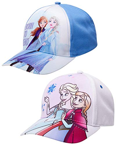 Disney Girls Frozen and Minnie Mouse Cotton Baseball Cap 2 Packs, Frozen Spirit 2 Pack (Size Age 4-7)