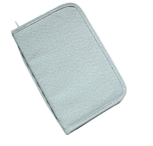 Isuperb® passaporto portafoglio Organizer porta carte grigio impermeabile spaziosa borsa documento passaporto per viaggiare con cinghia grigio Style 2