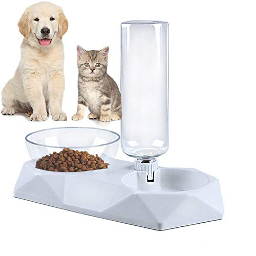 Queta Automatischer Futter und Wasserspender für Katzen und Hunde, 2 in 1 Automatischer Futterspender & Wassertränker im Set für Kleintiere,Hund (Weiß)