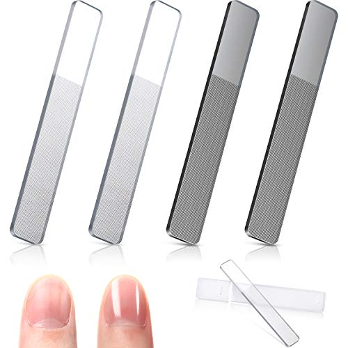 4 Pieces Glass Nail Shiner Crystal Nail Shine Buffer Polisher Crystal...