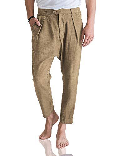 Gemijacka Hose Herren tiefer Schritt Leinenhose Modern Fit Straight Beine Chino Stoffhose Herren Sommer Freizeithose