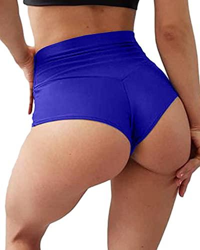 BZB Women's High Waist Yoga Shorts Gym Workout Booty Dance Hot Pants Athletic Butt Lifting Sports Leggings Blue